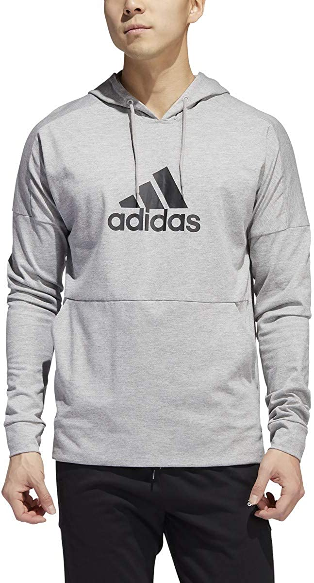 adidas Badge of Sport Manufacturer Max 80% OFF regenerated product Hoodie-Men's 2XL Casual Heathe Grey Medium