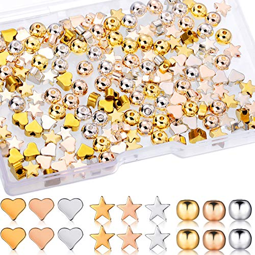 180 Pieces Mixed Spacer Beads Heart Charm Star Shape Beads Colorful Round Spacer Handmade Loose Beads Jewelry DIY Craft for Christmas Valentine's Giving Jewelry Crafts Making, Gold, Silver, Rose Gold