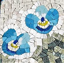 Forget Me Not Flower - Mosaic craft kit for adults - Marble & Murano glass mosaic tiles - DIY love gift - Mini mosaic wall art