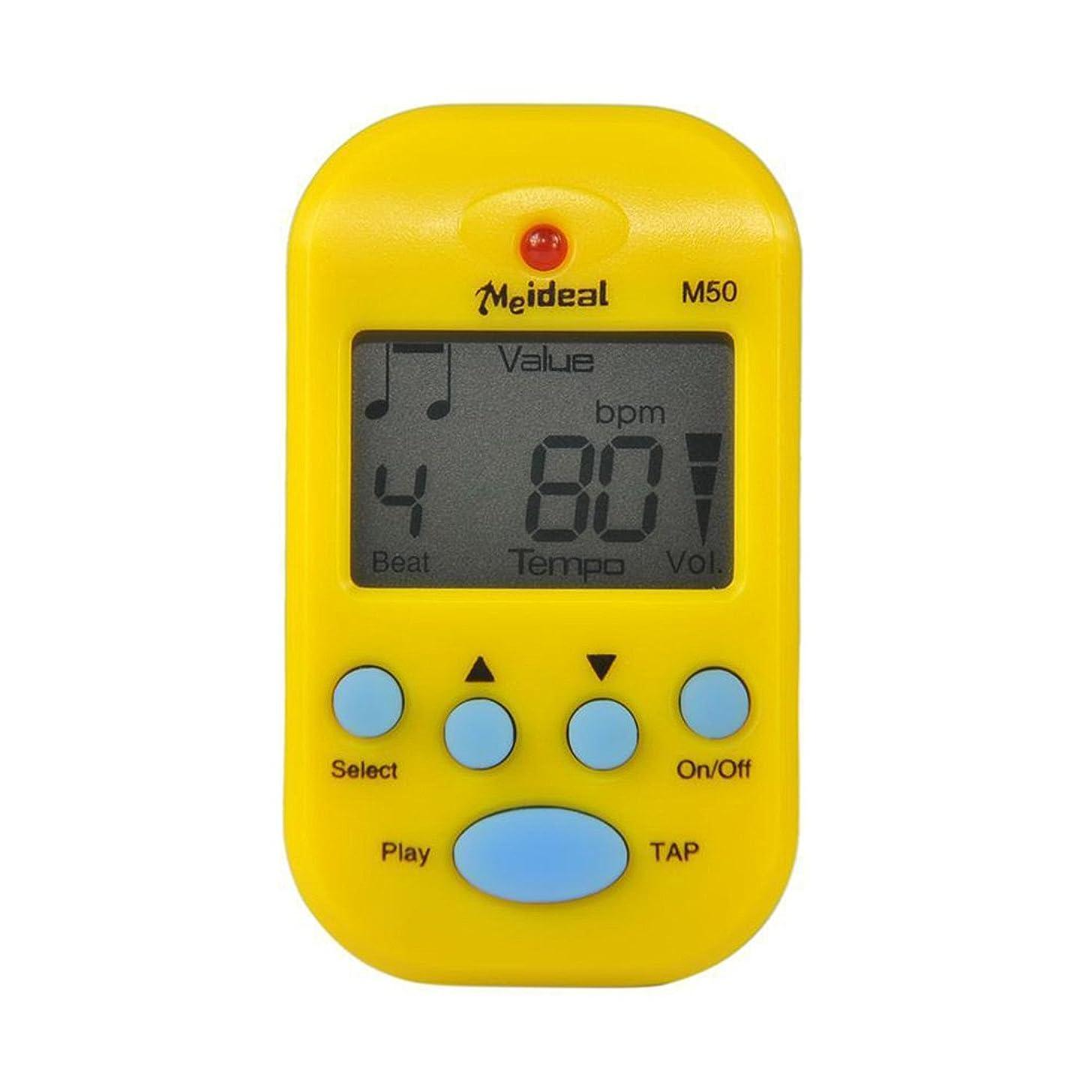 M50 Mini Electronic LCD Digital Clip Beat Tempo Chromatic Guitar Bass Violin Metronome Parts For Piano Yellow