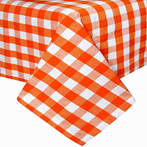HOMESCAPES karierte Tischdecke, orange, Gingham-Tischdecke aus 100{632250f8c5a86ec58af6fac5552b2d433750dac9d5ca2613c2ef92f4e3f8b127} Baumwolle mit Karo-Muster, quadratisches Tischtuch für Esstisch oder Küchentisch, 137 x 137 cm