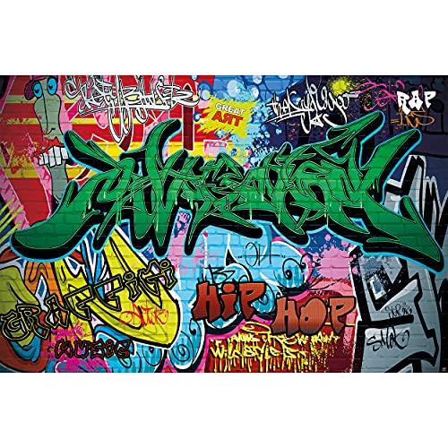 GREAT ART XXL Poster Kinderzimmer – Graffiti – Wand Dekoration Bunte Zeichen Schriftzüge Pop Art Mauer Street Style Writing Hip Hop Wallpaper Street Art Wandposter Fotoposter (140 x 100 cm)