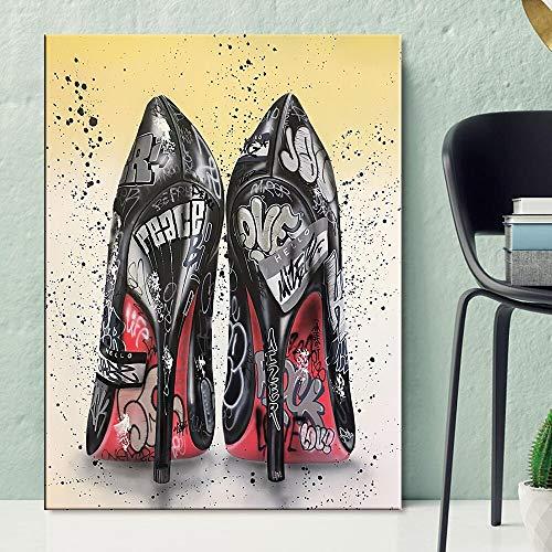 Zapatos Graffiti Wall Art Lienzo Pintura Carteles e Impresiones Tacones Altos Sala de Estar Cuadros de Pared decoración del hogar 60x80 Sin Marco