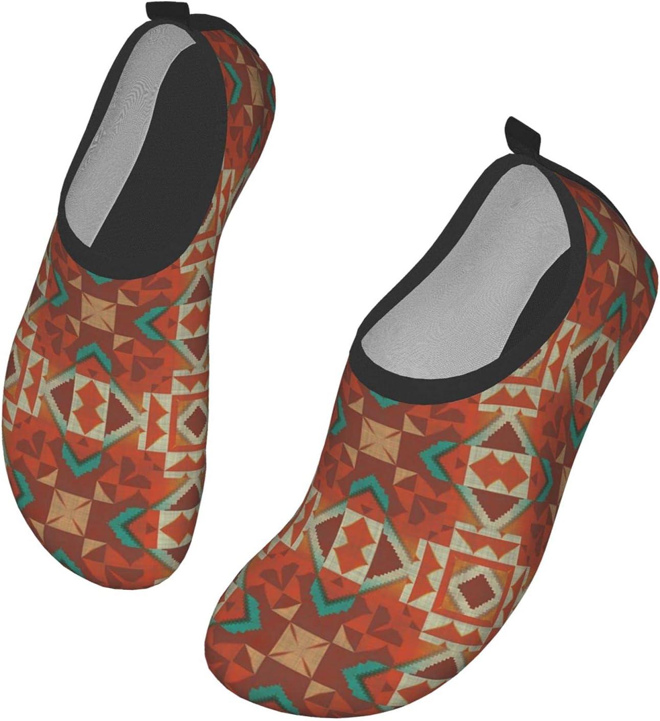 Womens Mens Summer Water Shoes Tribal Mosaic Ethnic Native American Barefoot Shoe Quick Dry Aqua Socks