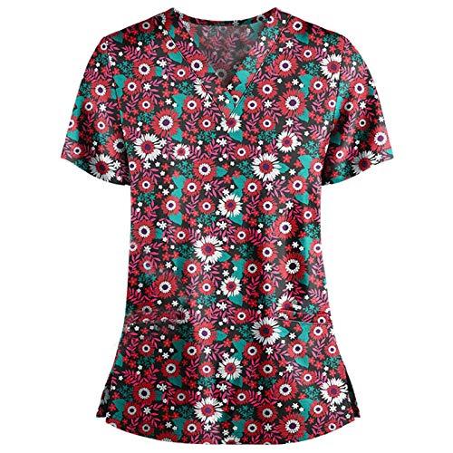 Pflege T-Shirt Damen Bunt mit Schmetterling Motiv gedruckt Krankenhauskleidung V-Ausschnitt Schlupfkasack doppelt Taschen Kurzarm Berufskleidung Gute Qualität Nurse Uniformen Top