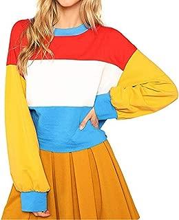 ManxiVoo Women Color Block Casual Sweatshirt Crop Top Cut Sew Striped Pullover Hoodie Blouse
