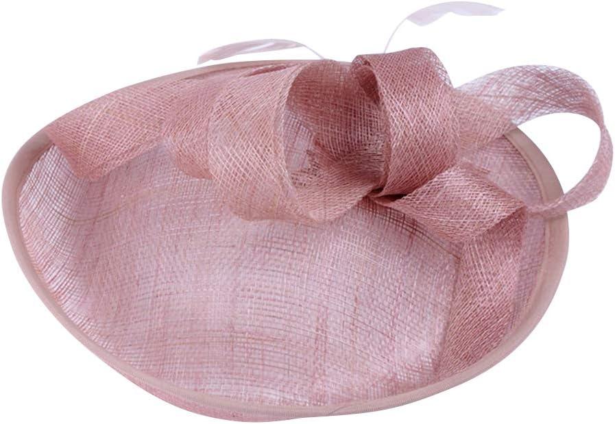 KESYOO Bride Flax Yarn Hat Retro Bride Yarn Headwear Pretty Bride Hat Headdress Romantic Flax Yarn Headwear (Pink)