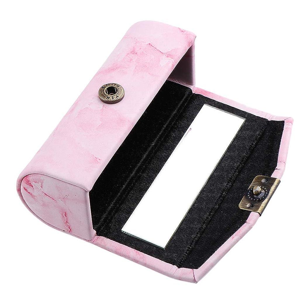 蒸留磨かれたチャーミングB Baosity リップスティックケース 口紅 メイクアップポーチ ミラー付き 小物収納 6色選べ - ピンク