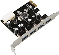 USB3.0 PCIe 4 Port Card.USB 3.0 to PCI Express Card Expansion card,5Gbps PCIe Hub Controller Adapter Rosewill RC-508 PCIE Card