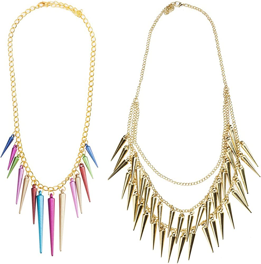 Awesome Jewelry Set Kit With 2 Punk Gothic Style Necklaces Including Golden With Layered Chains And Spikes Tassels And One With Colorful Rivets Pyramids Cones shape On Gold Colored Chain By VAGA