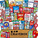 CraveBox Care Package (45 Count) Snacks Food Cookies Chocolate Bar Chips Candy Variety Gift Box Pack Assortment Basket Bundle Mix Bulk Sampler Treat College Students Final Exam Office Father's Day