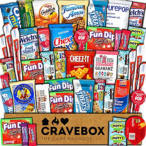 CraveBox Care Package (45 Count) Snacks Food Cookies Chocolate Bar Chips Candy Variety Gift Box Pack Assortment Basket Bundle Mix Bulk Sampler Treat College Students Final Exam Office Fathers Day