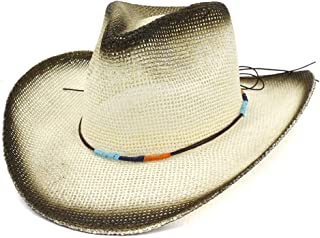 JAUROUXIYUJI New Women Outdoor Beach Cowboy Hat Roll Brim Sun Hat Spray Paint Cowgirl Straw Hat Braided Rope Color (Color : 2, Size : 56-58CM)