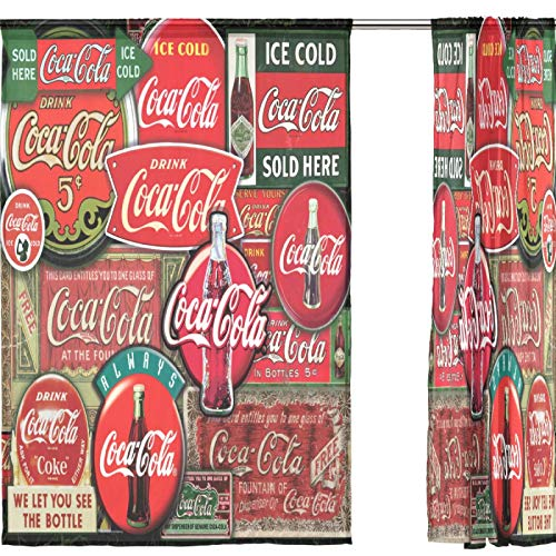 """Sheer Window Curtains 2 Panels Vintage Coca Cola Signs Voile Curtains for Kitchen Bedroom Living Room Home Decor 55"""" x 84"""""""