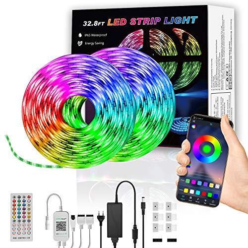 LED Strip 10m, ulocool Bluetooth LED Streifen mit APP-Steuerung und Fernbedienung, 5050 flexibler LED Lichterkette LED Schlauch LED Stripes mit Netzteil für Deko Party Weihnachten, Wasserdicht IP65