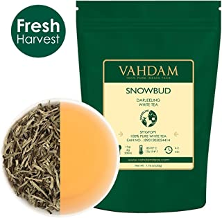 VAHDAM, Snowbud White Tea Leaves from Darjeeling (25 Cups), White Tea Loose Leaf Sourced Direct from High Elevation Estates in the Himalayas, 1.76oz