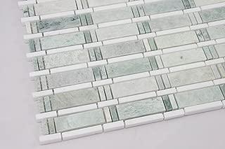 Ming Green, Thassos White; Marble Mosaic Tile; White and Green Marble Mosaic; Bathroom Marble Mosaic.