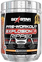 Six Star Explosion Ripped Pre Workout, Powerful Pre Workout Powder with Extreme Energy, Focus and Intensity, Peach Mango, 30 Servings, 5.91 oz