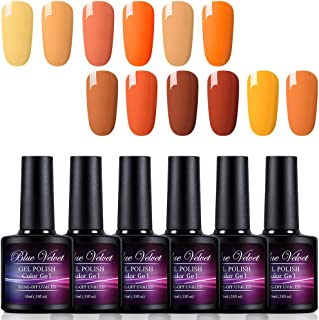 Gel Polish Set Blue Velvet 12pcs Soak Off UV LED Fall Pupmkin Color Gel Nail Coat Manicure and Pedicure Kit 10ML