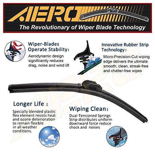 AERO Premium All-Season Beam Windshield Wiper Blades Replacement for Volkswagen VW Golf/GTI 2016-2015 (Set of 2)