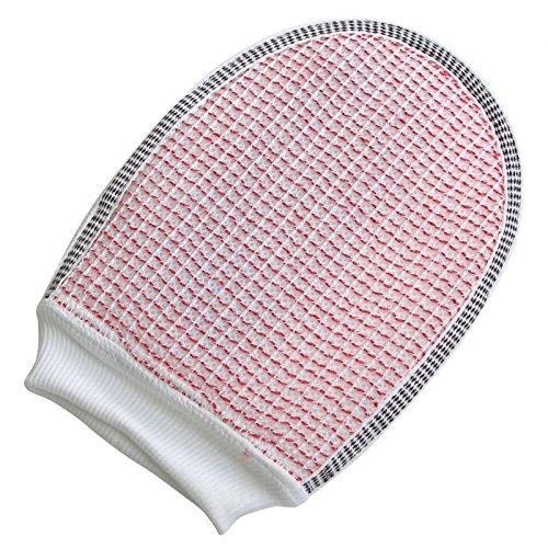 LECOrubb Peelinghandschuh, Massagehandschuh für sanftes, intensives Peeling und Massage, Handschuh, Rot