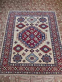 5' x 6' Kazak Home Dyed Wool Hand Knotted Carpet Room Made by Hand Area Rug
