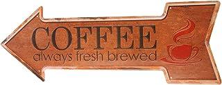 Ochoice Metal Signs Arrow Fresh Brewed Coffee Signs for Cafe Decor