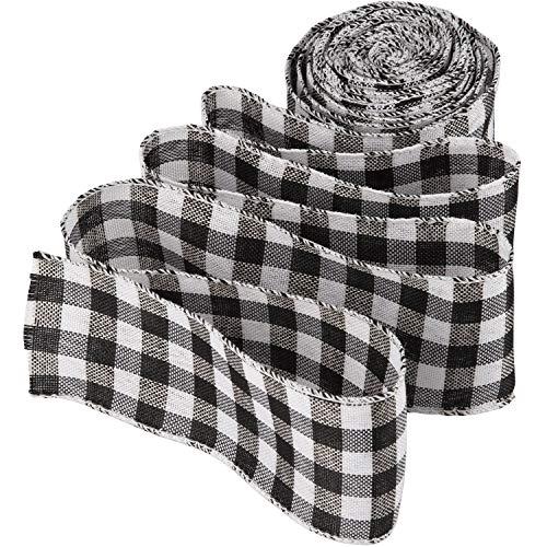 LUTER Schwarz und weiß Kariertes Sackleinenband mit Draht Buffalo Plaid Ribbon Weihnachtsband Geschenkband für Weihnachten Basteln Dekoration Blumenschleifen, 236 mal 2,5 Zoll