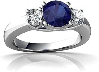 14kt Gold Lab Sapphire and Diamond 6mm Round Three Stone Trellis Ring