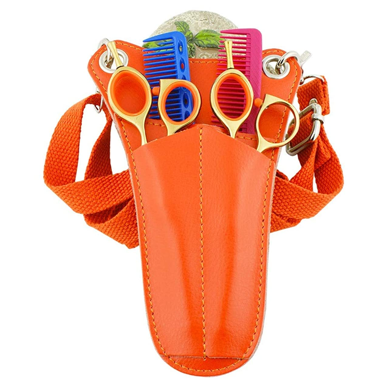 ソーセージ溢れんばかりの光沢JPAKIOS レザーサロンツールウエストバッグトライアングルミニポケットバッグ理髪はさみくしホルスターポーチ (色 : オレンジ)