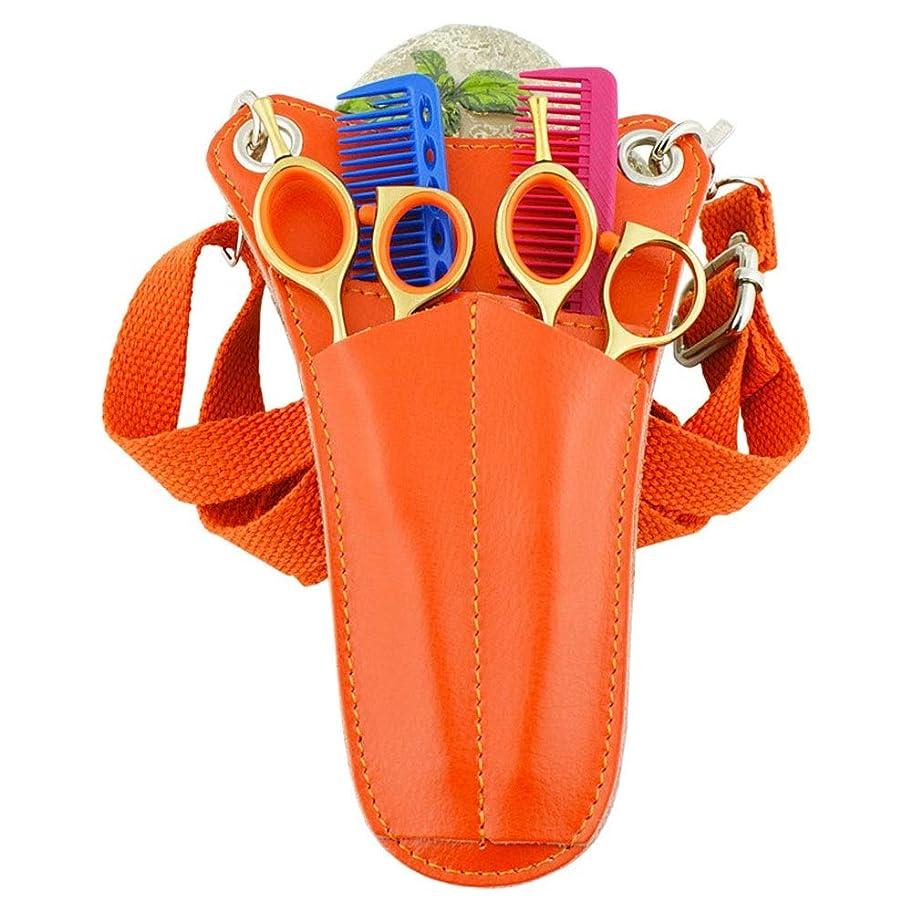 ブリリアント宿命ずるいJPAKIOS レザーサロンツールウエストバッグトライアングルミニポケットバッグ理髪はさみくしホルスターポーチ (色 : オレンジ)