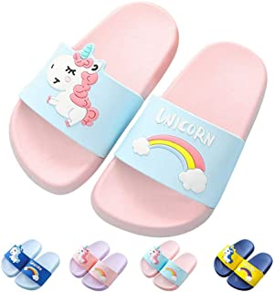 Kids Unicorn Slide Sandals Non-Slip Summer Beach Water Shoes Girls Shower Pool Slippers