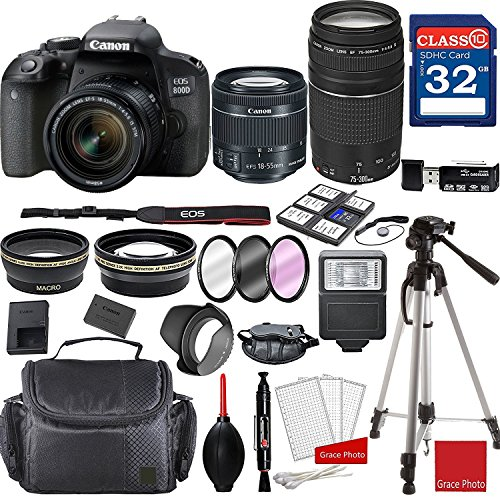 Canon EOS 800D Rebel T7i Kit with EF-S 18-55mm f/4-5.6 is STM Lens and...