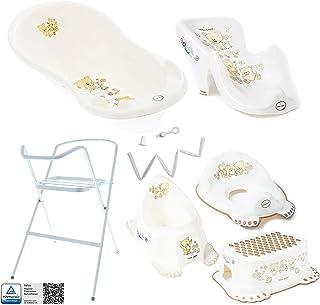 Bañera de bebé con marco y asiento de baño - Diferentes juegos para bebés con bañera para bebés + soporte + desagüe + desagüe + asiento de baño + orinal + entrenador de baño + taburete.