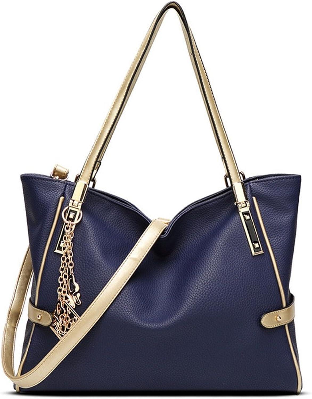 Oudan Oudan Oudan Damen Ornamente Trefferfarbe Frau Leder Handtasche Tote Bag Große Kapazität Umhängetasche Reisen Geschäft (Farbe   Blau, Größe   Einheitsgröße) B07DZZCXT3  Vorzugspreis 4db9cd