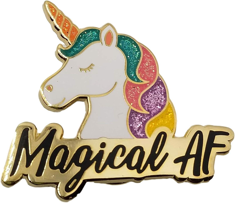 Stickeroonie Magical AF Unicorn Enamel Lapel Pin, Cute & Funny Glittery Rainbow Unicorn, 1.4 Inches