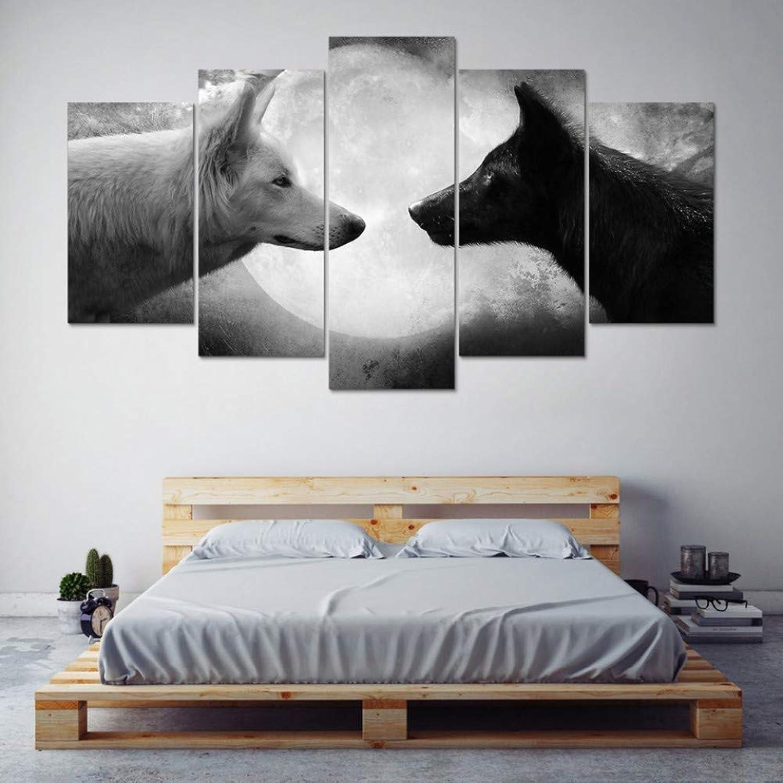 SHENGPAINLeinwand Gedruckt Malerei Wohnkultur Rahmen 5 Stücke Schwarz Und Wei Wlfe Bilder Modulare Tier Poster Wohnzimmer Wandkunst