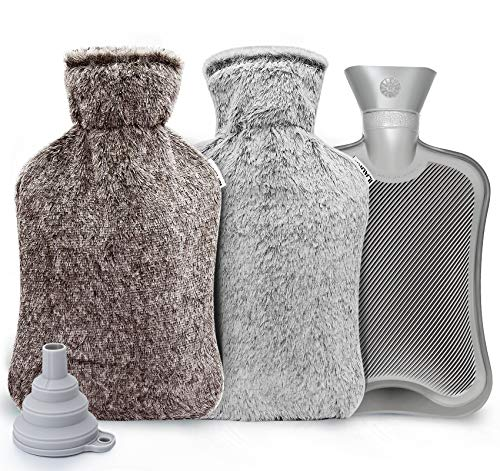 ilauke Wärmflasche mit Bezug 2L Wärmeflaschen mit 2 Stück Wärmflasche Vliesmäntel, Wärmflasche Kinder Sicher und Langlebig Geprüft Und Frei Von Schadstoffen für Bauch Rücken und Nacken, Grau+Braun