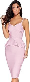 Women Two Piece Dress Celebrity Strap Midi Bodycon Bandage Dress
