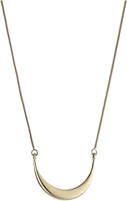 14K Yellow Gold Small Crescent Pendant Necklace