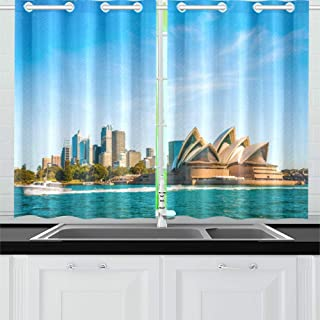 QXXIA Blackout Curtains for Kitchen Eyelet Thermal Insulated Room City Skyline Sydney Australia Circular Quay Curtains for Living Room, 2 Window Curtain Panels