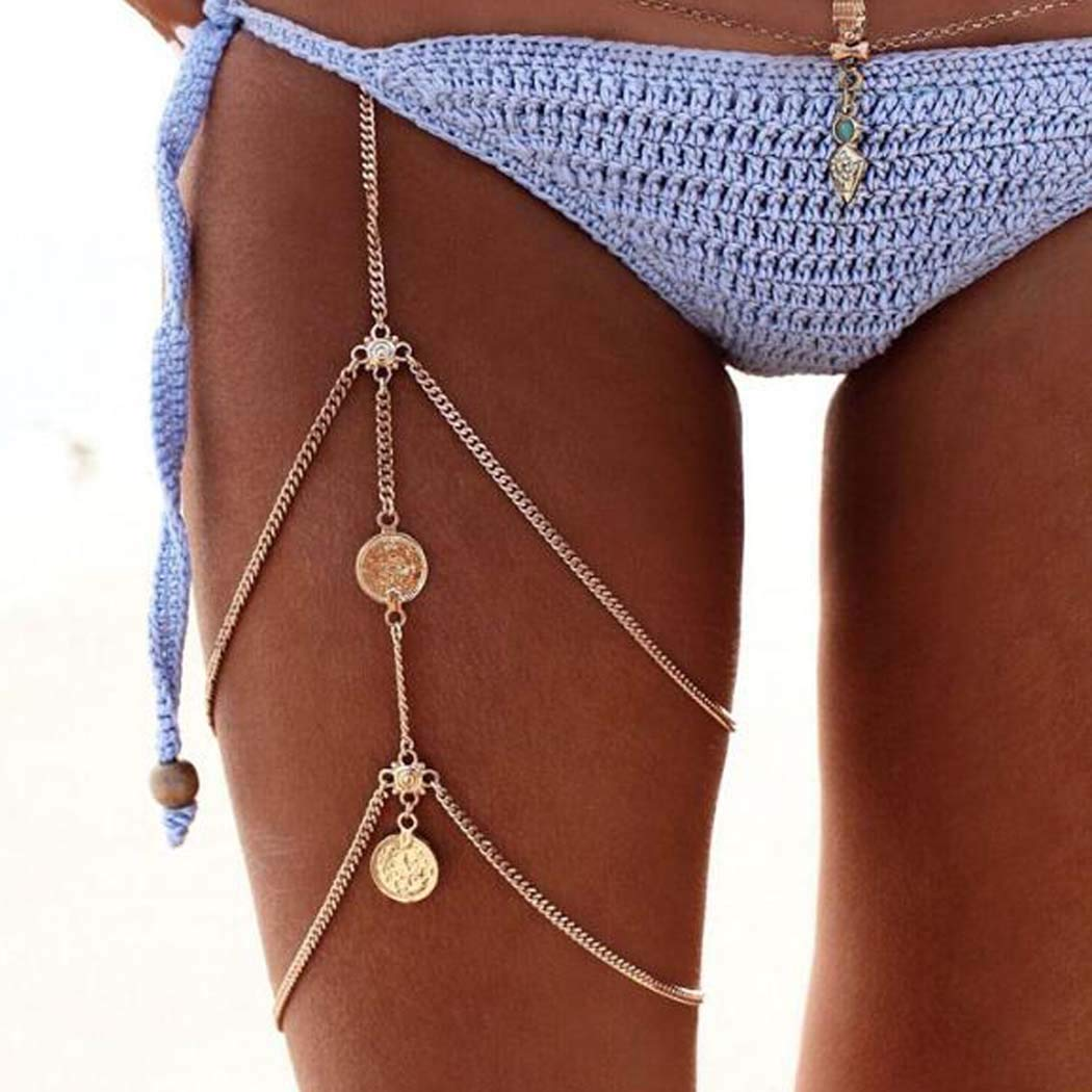 Chicque Sexy Thigh Chains Gold Leg Chain Coin Leg Bikini Jewelry Boho Body Chain Layered Body Jewelry for Women and Girls