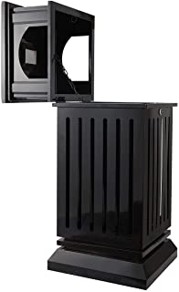 BEAMNOVA Trash Can Outdoor Black Garbage Enclosure with Locking Lid Ashtray Open Top Inside Cabinet Stainless Steel Industrial Waste Container