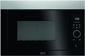 AEG MBE2657D-M Mikrowelle / Einbau Mikrowelle mit Grill / 26 l Backraum / max. 900 Watt / Mikrowellengerät mit Automatikprogrammen & Kindersicherung / Edelstahl  Anti-Fingerprint / silber & schwarz