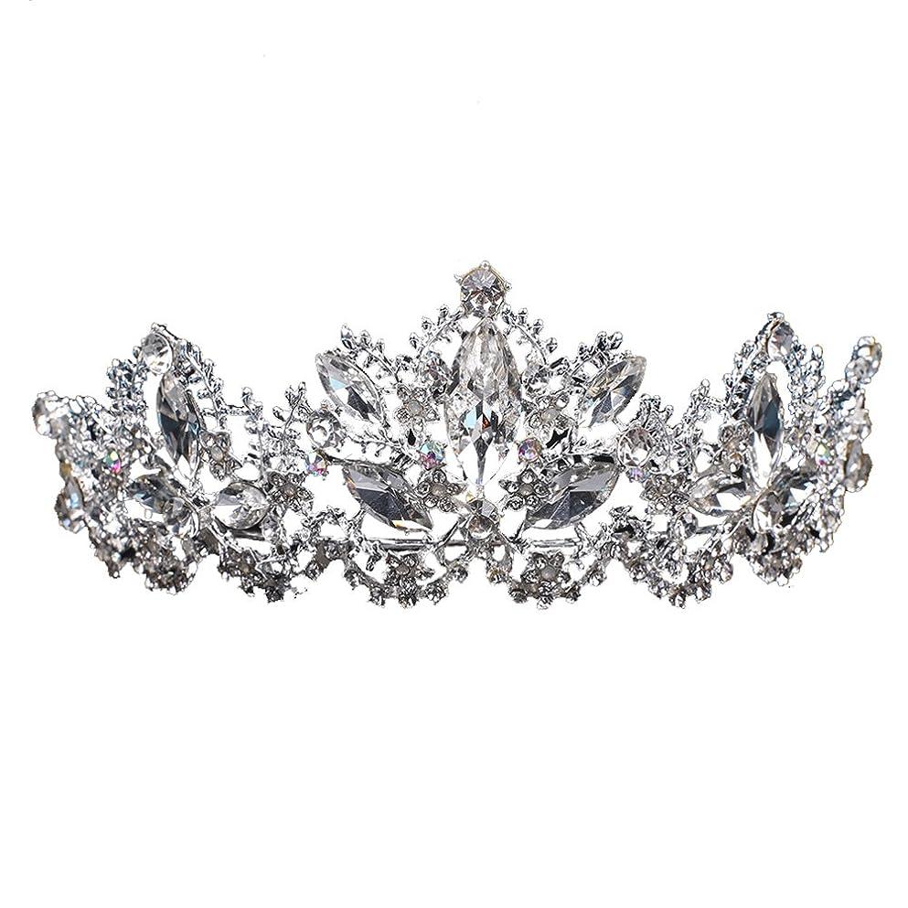 破壊的なジョグ君主FENICAL ブライダル ティアラ ヘアバンド 王冠 クラウン クリスタル 髪飾り プリンセス 花嫁 結婚式 ウェディング ヘアアクセサリー(シルバー)