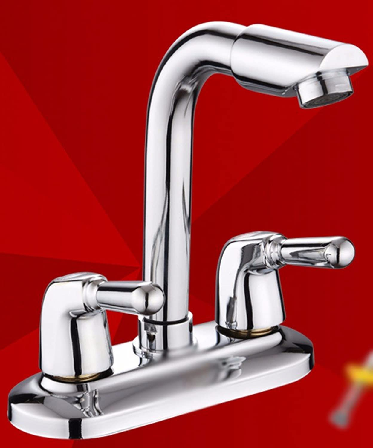 Hlluya Professional Sink Mixer Tap Kitchen Faucet Brass, double, double, hot and cold, bath, Washbasin Faucet 3