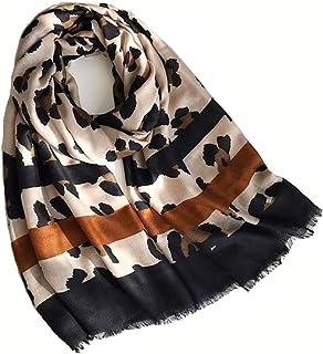KUSTOM FACTORY - Foulard da donna, motivo leopardato, 90 x 180 cm, colore: nero e marrone