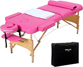 Uenjoy Massage Table 84'' Professional Folding Massage Bed Deluxe Model with Extra Width, Ultra-thick Sponge, PU Leather Surface & Additional Accessories, 2 Fold, Pink
