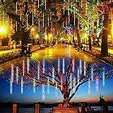 Vmanoo Lumières d'extérieur LED 8 tubes - Lampes solaires - Pluie de météores - Gouttes de neige - Éclairage en cascade pour jardin, terrasse, vacances, mariage, fête (multicolore)