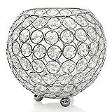 VINCIGANT Portavelas Jarrones Cristal Tealight Metal Plateado.Candelabros Decorativos...